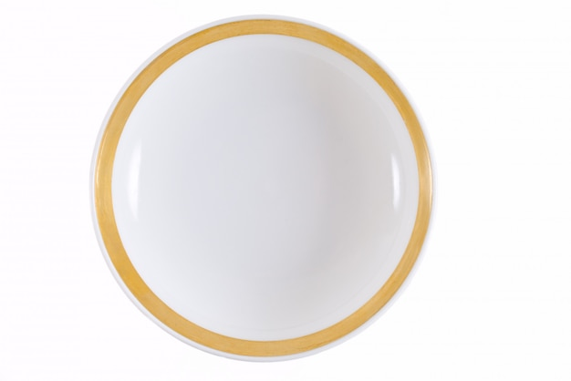 Plate with a gold border on white