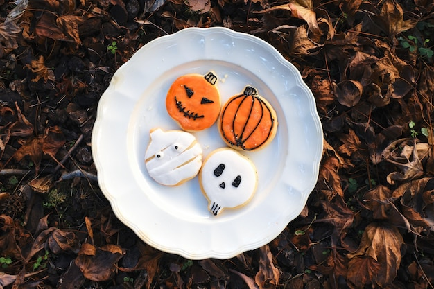 Plate with homemade cookies decorated for halloween on a background of natural fallen autumn leaves