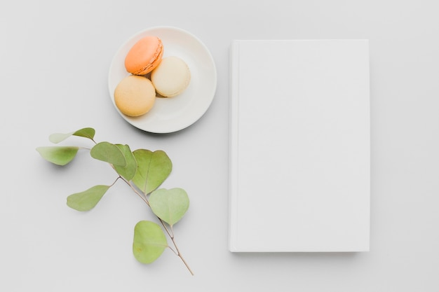 Plate with macarons beside book