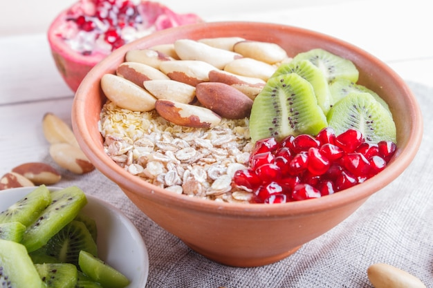 A plate with muesli, kiwi, pomegranate, brazil nuts on a white wooden background.