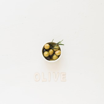 Plate with olives and oliveword