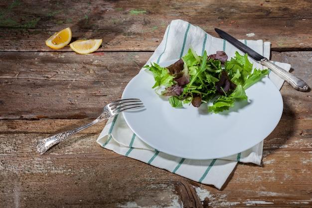 나무 테이블에 조미료를 넣지 않은 샐러드 만있는 접시