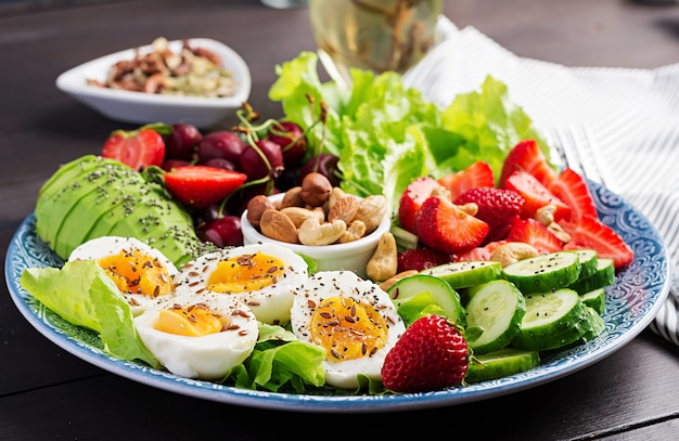Plate with a paleo diet food, boiled eggs, avocado, cucumber, nuts, cherry and strawberries, paleo breakfast.