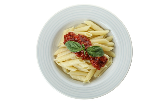 Plate with pasta with tomato sauce isolated on white isolated background