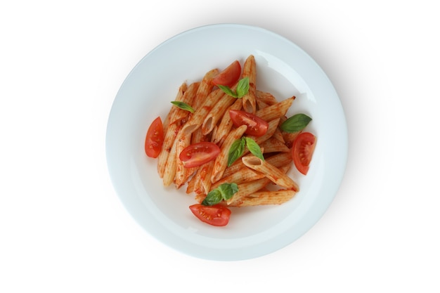 Plate with pasta with tomato sauce isolated on white