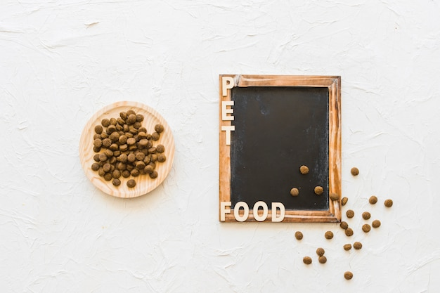 Plate with pet food near blackboard and writing