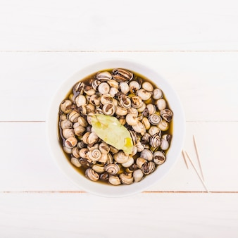 Platewith snails on kitchen desktop