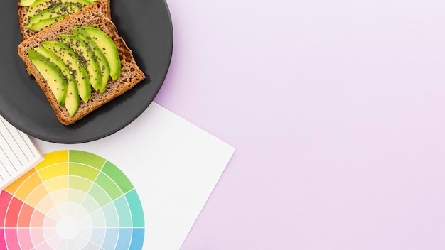 Plate with toast and avocado for breakfast copy-space