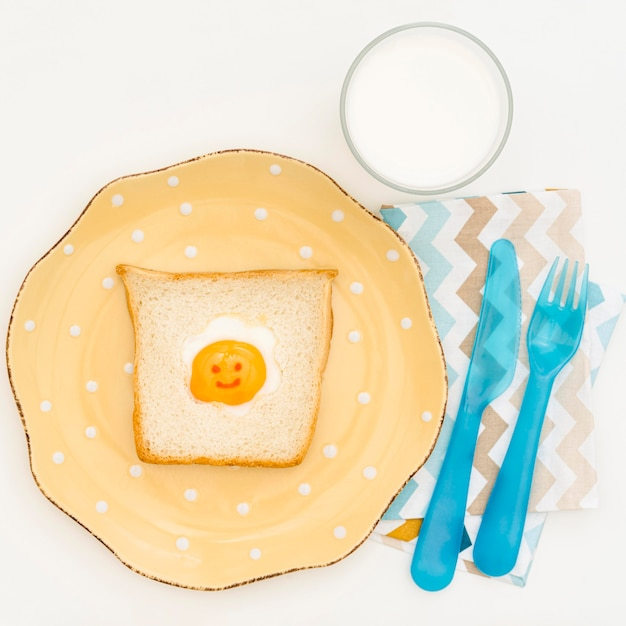 Plate with toast for baby