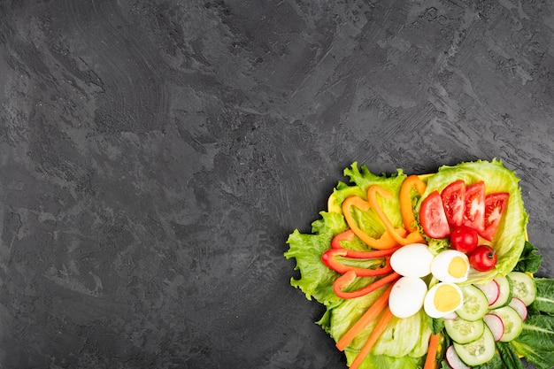 Plateau of healthy food on grunge background