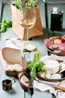 Plates of cheese and sausage