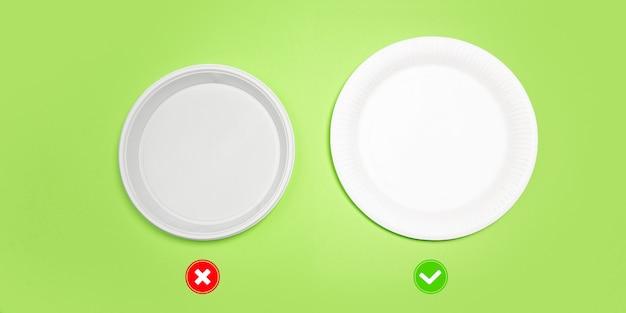 プレート。環境にやさしい生活-ポリマー、プラスチック類似体と比較して、有機的に作られたリサイクル物。ホームスタイル、リサイクル用の天然物で、環境や健康に害はありません。