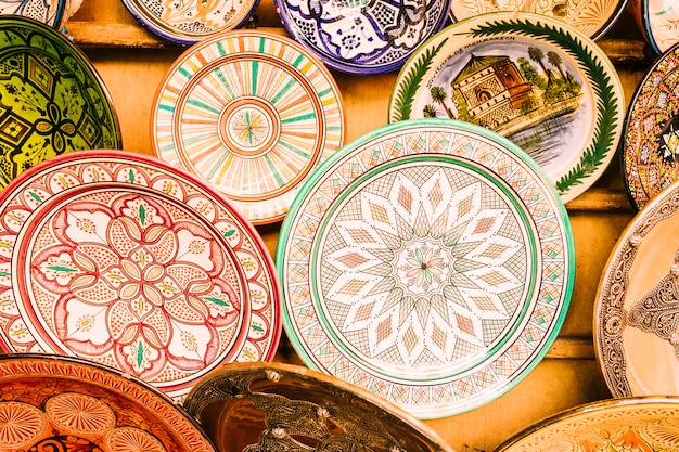 Plates on market in morocco