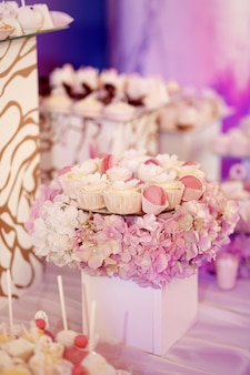 Plates with pink and white sweets stand on cubes with hydrangeas