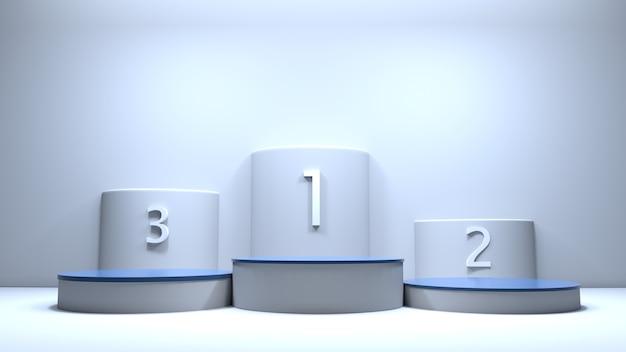 Platform honoring the top three 3d illustration