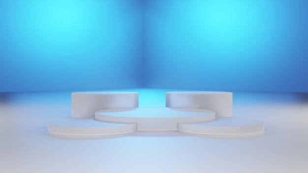 기하학적 패턴, 무대, 디스플레이 스탠드, 빈 제품, 3d 렌더링을 보여주는 플랫폼 분홍색 검정색 배경색 추상 장면