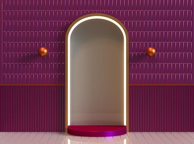 Платформа-подиум с легкой классической комнатой 3d-рендеринга в полном цвете