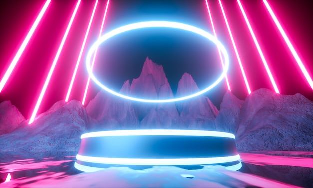Platform for product presentation. modern futuristic neon abstract background. 3d render