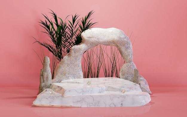 Платформа сценический подиум камень с пальмовым листом фон 3d визуализации