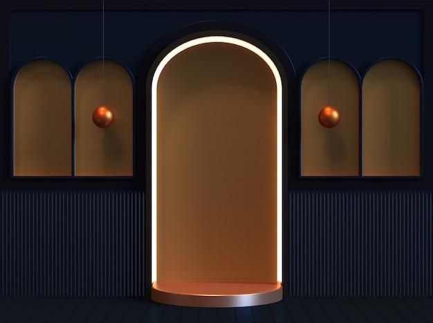 Платформа сценического подиума с классической комнатой 3d-рендеринга