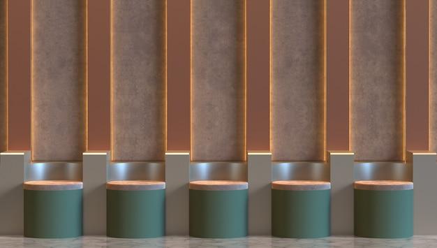 Платформа сценический подиум с настенным светильником 3d визуализации