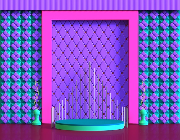 Сцена на платформе с классической комнатой, 3d визуализация в полном цвете