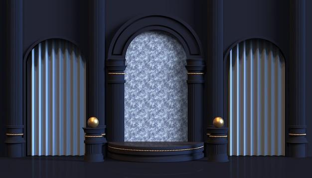 Сцена на платформе с классической комнатой 3d-рендера