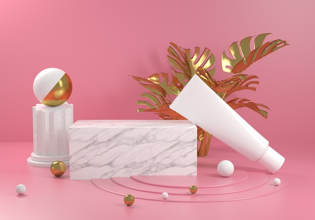 Платформа белый мрамор с золотой растительностью monstera и розовым фоном 3d визуализации Premium Фотографии