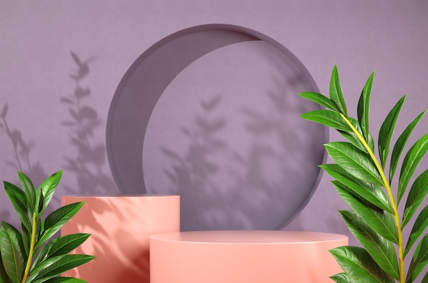 Platform with sunlight shadow on concrete purple wall abstract background 3d render