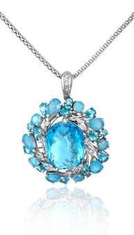 Platinum pendant with topaz