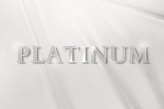 Platinum text in luxury silver metallic font
