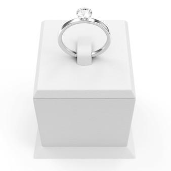 プレゼンテーションスタンドにダイヤモンドをあしらったプラチナの結婚指輪