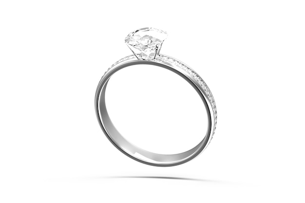 白い背景の上のダイヤモンドとプラチナの結婚指輪