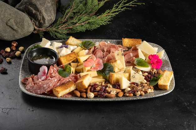 대기업을 위한 치즈, 소시지, 햄, 베이컨, 꿀, 견과류를 곁들인 플라톤 와인