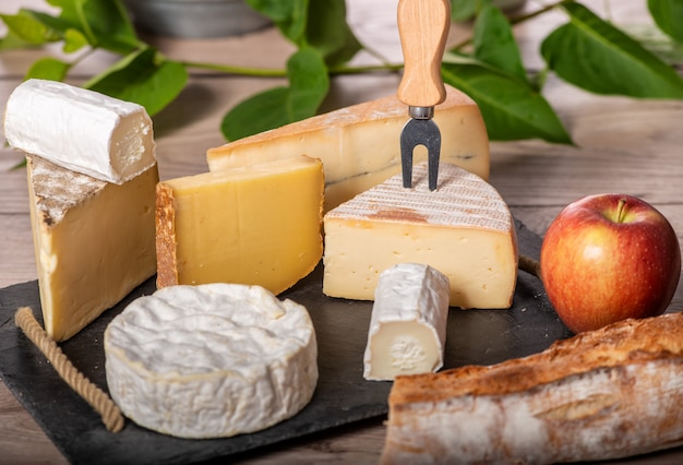 Platter of different french cheeses