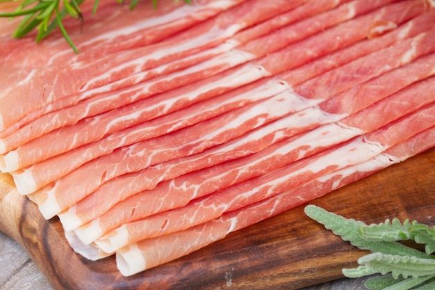 Platter of spanish cured pork ham jamon