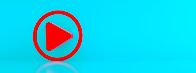 Play button icon over blue background, 3d render, panoramic mockup