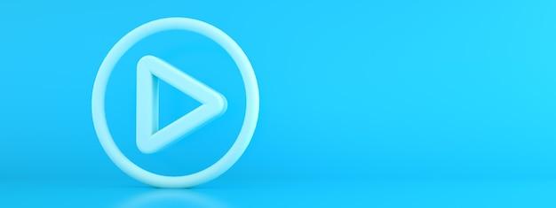 青い背景の上にボタンサインを再生、3dレンダリング、パノラマモックアップ Premium写真