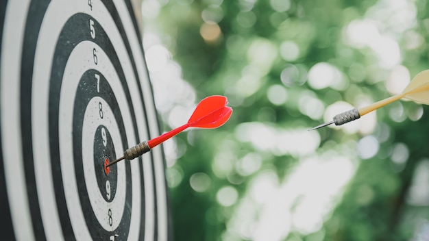 Play dart board game in the garden.  business success and goal. workout and activity at home.