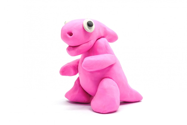 Play doh parasaurolophus on white background