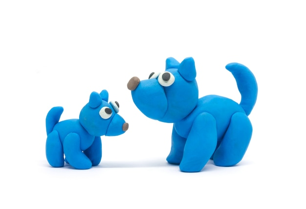 Play dough dog father and son on white background