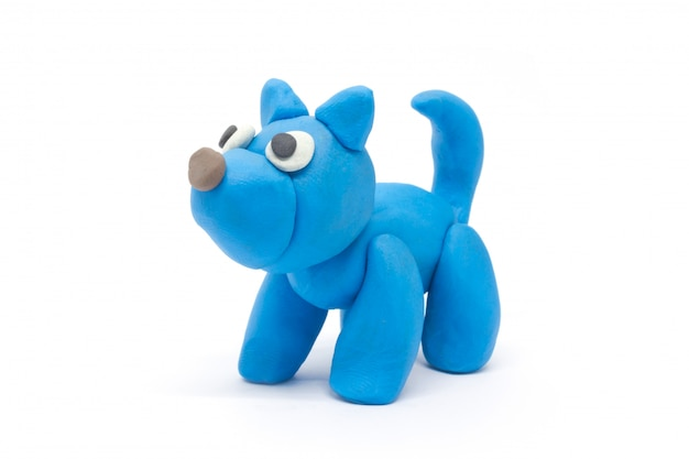 Play dough dog on white background