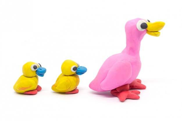Play dough duck mother and son on white background