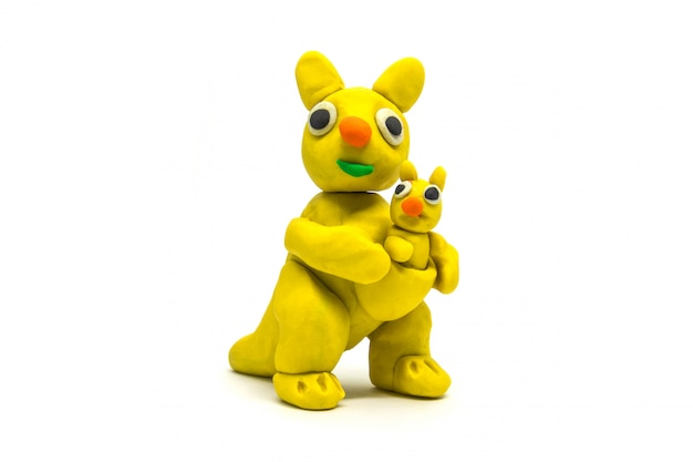 Play dough kangaroo on white
