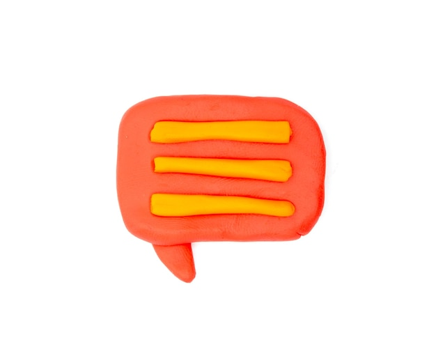Play dough message on white background. icon message . handmade clay plasticine