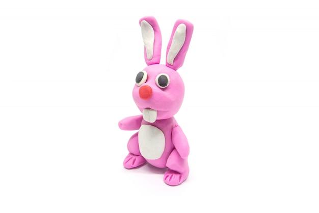 Play dough rabbit on white