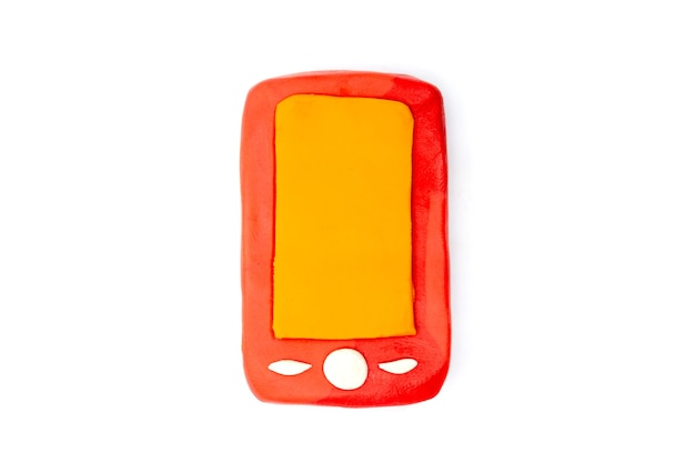 Play dough smartphone on white background. handmade clay plasticine