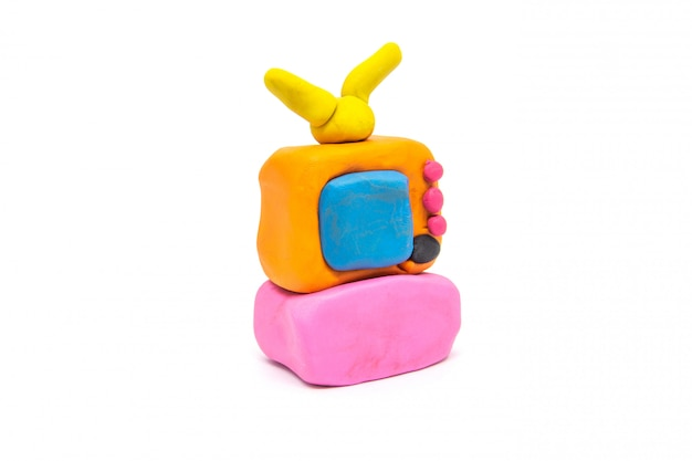 Play dough televisions on white