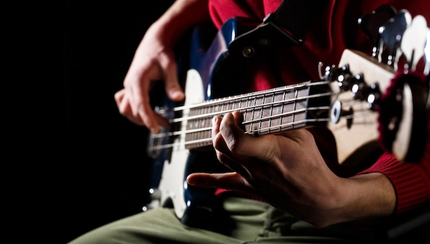 Play the guitar live music background music festival instrument on stage and band