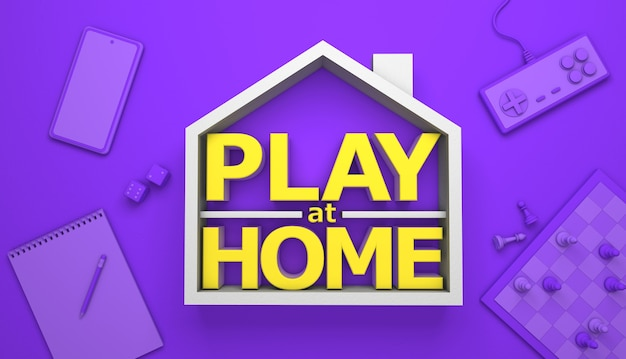 Play at home. board games and computer games at home. 3d render.